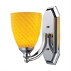Bath And Spa 1 Light Vanity In Polished Chrome And Canary Glass