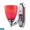 Bath And Spa 1 Light LED Vanity In Polished Chrome And Scarlet Red Glass