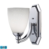 Bath And Spa 1 Light LED Vanity In Polished Chrome And Simple White Glass