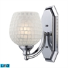 Bath And Spa 1 Light LED Vanity In Polished Chrome And White Glass
