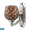 Bath And Spa 1 Light LED Vanity In Satin Nickel And Multi Fusion Glass