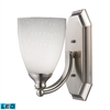 Bath And Spa 1 Light LED Vanity In Satin Nickel And Simple White Glass