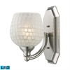 Bath And Spa 1 Light LED Vanity In Satin Nickel And White Glass