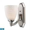 ELK lighting Bath And Spa 1 Light LED Vanity In Satin Nickel And White Swirl Glass