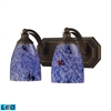 Bath And Spa 2 Light LED Vanity In Aged Bronze And Starburst Blue Glass
