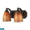 ELK lighting Bath And Spa 2 Light LED Vanity In Aged Bronze And Cocoa Glass
