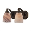 ELK lighting Bath And Spa 2 Light Vanity In Aged Bronze And Creme Glass