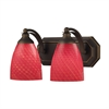 ELK lighting Bath And Spa 2 Light Vanity In Aged Bronze And Scarlet Red Glass
