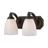 ELK lighting Bath And Spa 2 Light Vanity In Aged Bronze And Snow White Glass