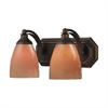 Bath And Spa 2 Light Vanity In Aged Bronze And Sandy Glass
