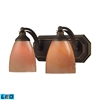 Bath And Spa 2 Light LED Vanity In Aged Bronze And Sandy Glass