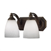 ELK lighting Bath And Spa 2 Light Vanity In Aged Bronze And Simple White Glass