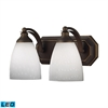 Bath And Spa 2 Light LED Vanity In Aged Bronze And Simple White Glass