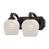 ELK lighting Bath And Spa 2 Light Vanity In Aged Bronze And White Glass