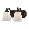 ELK lighting Bath And Spa 2 Light Vanity In Aged Bronze And White Swirl Glass