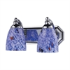 Bath And Spa 2 Light Vanity In Polished Chrome And Starburst Blue Glass