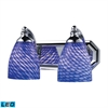 Bath And Spa 2 Light LED Vanity In Polished Chrome And Sapphire Glass
