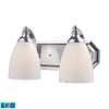 ELK lighting Bath And Spa 2 Light LED Vanity In Polished Chrome And Snow White Glass