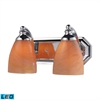 ELK lighting Bath And Spa 2 Light LED Vanity In Polished Chrome And Sandy Glass