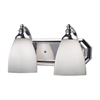 ELK lighting Bath And Spa 2 Light Vanity In Polished Chrome And Simple White Glass