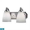 Bath And Spa 2 Light LED Vanity In Polished Chrome And Simple White Glass