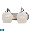 Bath And Spa 2 Light LED Vanity In Polished Chrome And White Glass