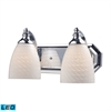 Bath And Spa 2 Light LED Vanity In Polished Chrome And White Swirl Glass