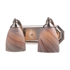 Bath And Spa 2 Light Vanity In Satin Nickel And Creme Glass