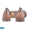 Bath And Spa 2 Light LED Vanity In Satin Nickel And Creme Glass
