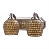 Bath And Spa 2 Light Vanity In Satin Nickel And Gold Leaf Glass