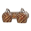 ELK lighting Bath And Spa 2 Light Vanity In Satin Nickel And Multi Fusion Glass