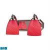 ELK lighting Bath And Spa 2 Light LED Vanity In Satin Nickel And Scarlet Red Glass