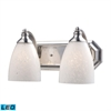 ELK lighting Bath And Spa 2 Light LED Vanity In Satin Nickel And Snow White Glass