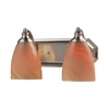 Bath And Spa 2 Light Vanity In Satin Nickel And Sandy Glass
