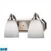 Bath And Spa 2 Light LED Vanity In Satin Nickel And Simple White Glass