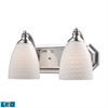 ELK lighting Bath And Spa 2 Light LED Vanity In Satin Nickel And White Swirl Glass