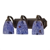 Bath And Spa 3 Light Vanity In Aged Bronze And Starburst Blue Glass