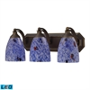 ELK lighting Bath And Spa 3 Light LED Vanity In Aged Bronze And Starburst Blue Glass