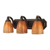 Bath And Spa 3 Light Vanity In Aged Bronze And Cocoa Glass