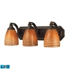 ELK lighting Bath And Spa 3 Light LED Vanity In Aged Bronze And Cocoa Glass