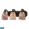 Bath And Spa 3 Light LED Vanity In Aged Bronze And Creme Glass