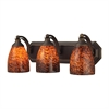 ELK lighting Bath And Spa 3 Light Vanity In Aged Bronze And Espresso Glass