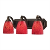 ELK lighting Bath And Spa 3 Light Vanity In Aged Bronze And Fire Red Glass