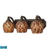 Bath And Spa 3 Light LED Vanity In Aged Bronze And Multi Fusion Glass