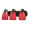 Bath And Spa 3 Light Vanity In Aged Bronze And Scarlet Red Glass