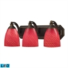 Bath And Spa 3 Light LED Vanity In Aged Bronze And Scarlet Red Glass