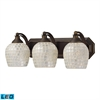 Bath And Spa 3 Light LED Vanity In Aged Bronze And Silver Glass
