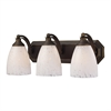 ELK lighting Bath And Spa 3 Light Vanity In Aged Bronze And Snow White Glass