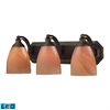 ELK lighting Bath And Spa 3 Light LED Vanity In Aged Bronze And Sandy Glass