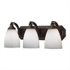 Bath And Spa 3 Light Vanity In Aged Bronze And Simple White Glass
